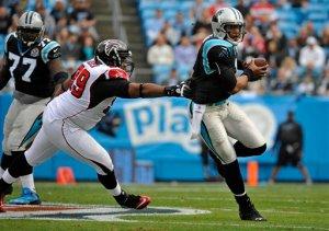 The Falcons had no answer for Cam Newton. (Rainier Ehrhardt)
