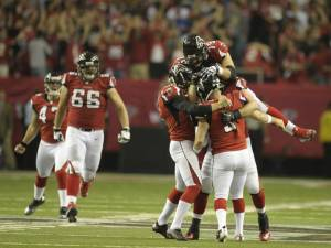 Matt Bryant's game-winning field goal gave the Falcons their first playoff victory since 2004. (Daniel Shirey)