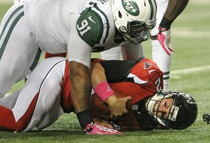 The Falcons had immense trouble keeping the New York Jets' front seven at bay. (Jason Braverman)