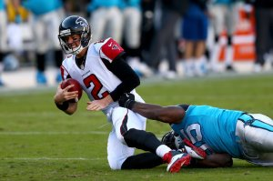 Matt Ryan threw three interceptions in the loss. (Streeter Lecka)