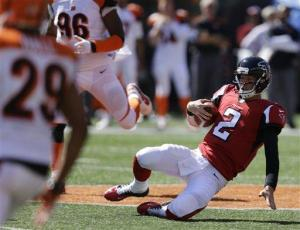 Matt Ryan was under duress for a large portion of the afternoon. (Michael Conroy)