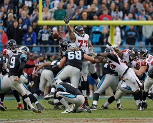 Ra'Shede Hageman blocked Graham Gano's 63-yard field goal attempt to win the game.  (Bob Leverone)